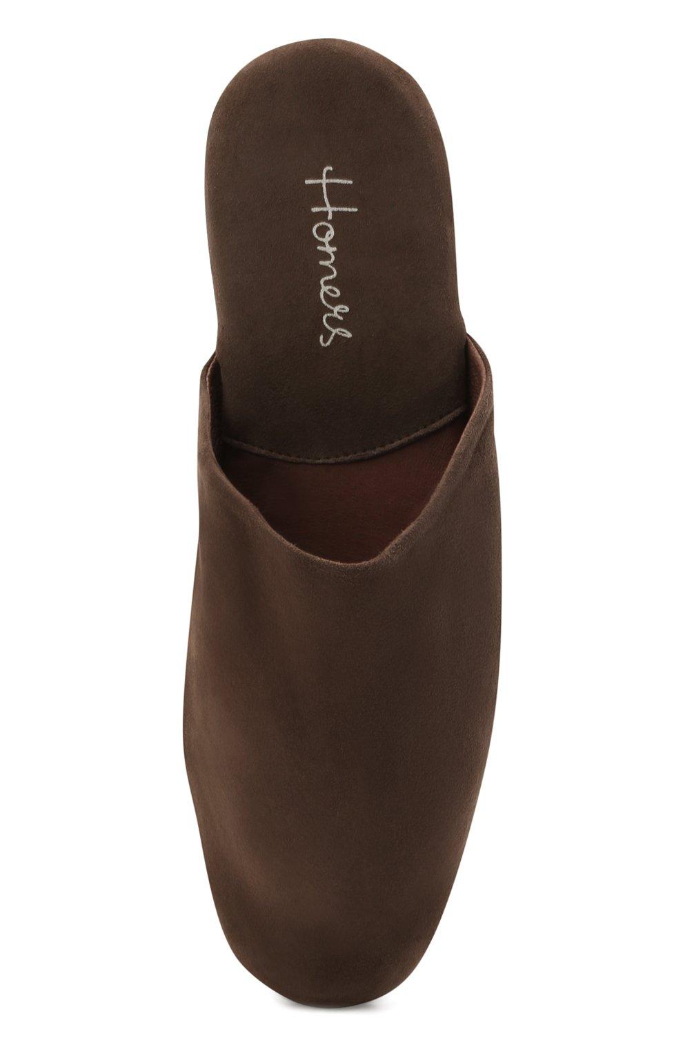 Мужского замшевые домашние туфли HOMERS AT HOME коричневого цвета, арт. 14289/ANTE | Фото 5 (Материал внутренний: Натуральная кожа; Материал внешний: Замша; Мужское Кросс-КТ: тапочки-обувь)
