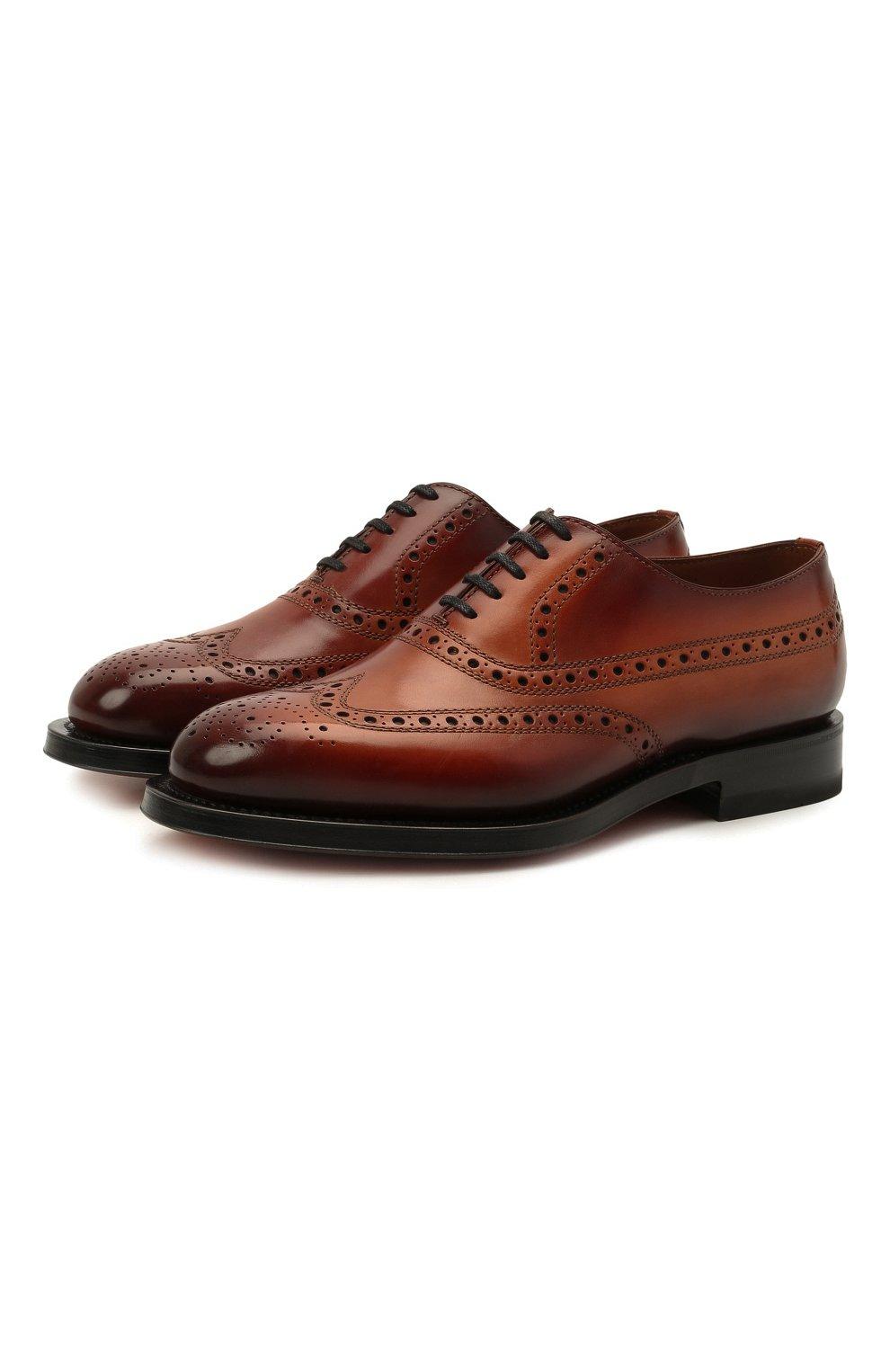 Мужские кожаные оксфорды SANTONI коричневого цвета, арт. MCCG17673MD3HFULA34   Фото 1 (Мужское Кросс-КТ: Броги-обувь; Материал внутренний: Натуральная кожа; Стили: Классический)