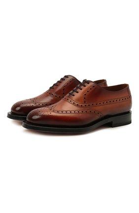 Мужские кожаные оксфорды SANTONI коричневого цвета, арт. MCCG17673MD3HFULA34 | Фото 1