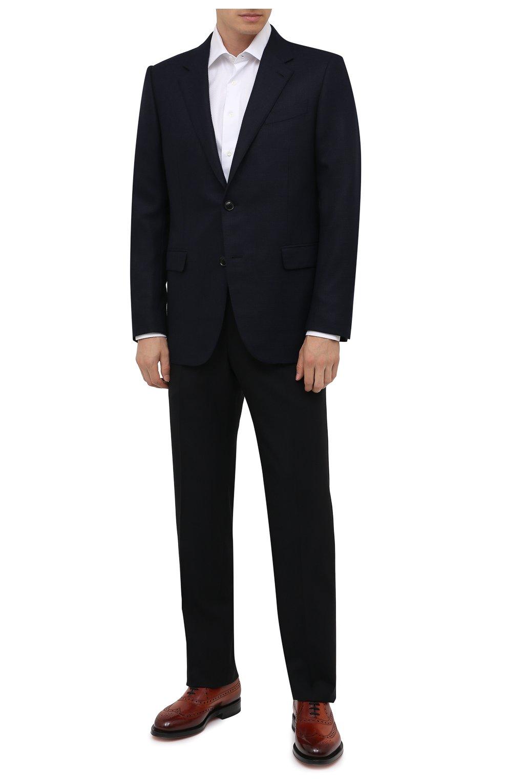 Мужские кожаные оксфорды SANTONI коричневого цвета, арт. MCCG17673MD3HFULA34   Фото 2 (Мужское Кросс-КТ: Броги-обувь; Материал внутренний: Натуральная кожа; Стили: Классический)