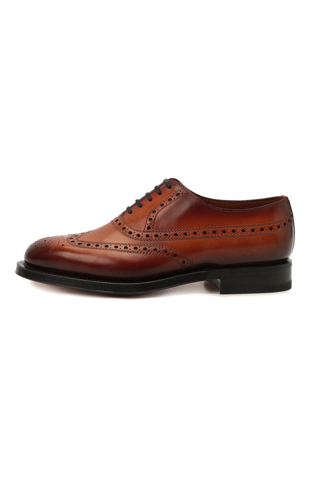Мужские кожаные оксфорды SANTONI коричневого цвета, арт. MCCG17673MD3HFULA34   Фото 3 (Мужское Кросс-КТ: Броги-обувь; Материал внутренний: Натуральная кожа; Стили: Классический)