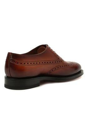 Мужские кожаные оксфорды SANTONI коричневого цвета, арт. MCCG17673MD3HFULA34   Фото 4 (Мужское Кросс-КТ: Броги-обувь; Материал внутренний: Натуральная кожа; Стили: Классический)