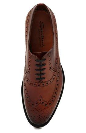 Мужские кожаные оксфорды SANTONI коричневого цвета, арт. MCCG17673MD3HFULA34   Фото 5 (Мужское Кросс-КТ: Броги-обувь; Материал внутренний: Натуральная кожа; Стили: Классический)