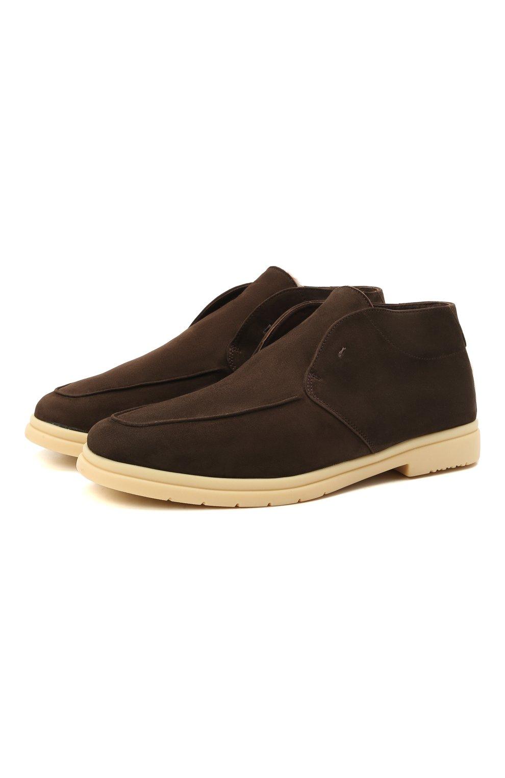Мужские замшевые ботинки ANDREA VENTURA FIRENZE темно-коричневого цвета, арт. W-SAIL0R PANAREA/SHEARLING/CACHEMIRE/WS-IV0RY | Фото 1 (Материал утеплителя: Натуральный мех; Мужское Кросс-КТ: Ботинки-обувь, зимние ботинки; Материал внутренний: Натуральная кожа; Подошва: Плоская; Материал внешний: Замша)