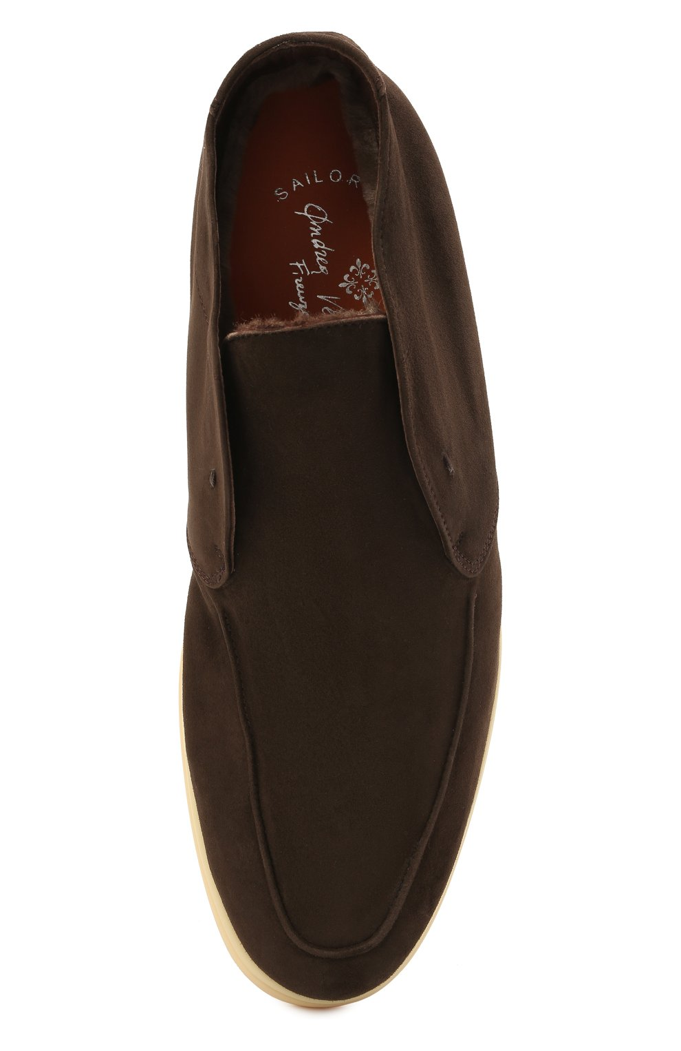 Мужские замшевые ботинки ANDREA VENTURA FIRENZE темно-коричневого цвета, арт. W-SAIL0R PANAREA/SHEARLING/CACHEMIRE/WS-IV0RY | Фото 5 (Материал утеплителя: Натуральный мех; Мужское Кросс-КТ: Ботинки-обувь, зимние ботинки; Материал внутренний: Натуральная кожа; Подошва: Плоская; Материал внешний: Замша)