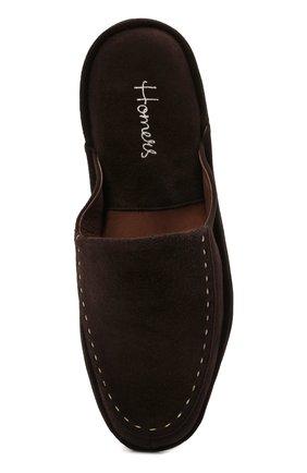 Мужского замшевые домашние туфли HOMERS AT HOME коричневого цвета, арт. 14874/ANTE | Фото 5 (Материал внутренний: Натуральная кожа; Материал внешний: Замша; Мужское Кросс-КТ: тапочки-обувь)