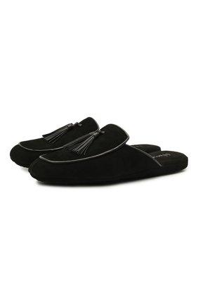 Мужского замшевые домашние туфли HOMERS AT HOME черного цвета, арт. 17789/ANTE | Фото 1