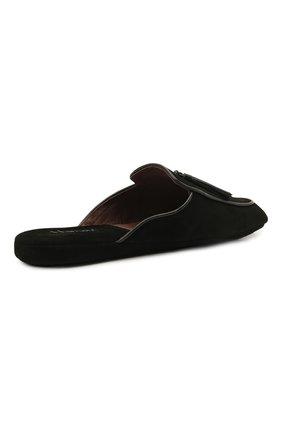 Мужского замшевые домашние туфли HOMERS AT HOME черного цвета, арт. 17789/ANTE | Фото 5 (Материал внутренний: Натуральная кожа; Материал внешний: Замша; Мужское Кросс-КТ: тапочки-обувь)