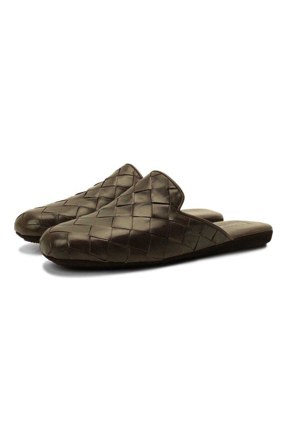 Мужского кожаные домашние туфли HOMERS AT HOME хаки цвета, арт. 20428/P0NCH0   Фото 1 (Материал внутренний: Натуральная кожа; Мужское Кросс-КТ: тапочки-обувь)