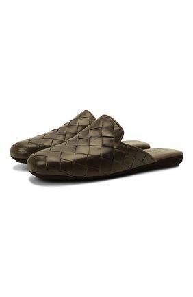 Мужского кожаные домашние туфли HOMERS AT HOME хаки цвета, арт. 20428/P0NCH0 | Фото 1