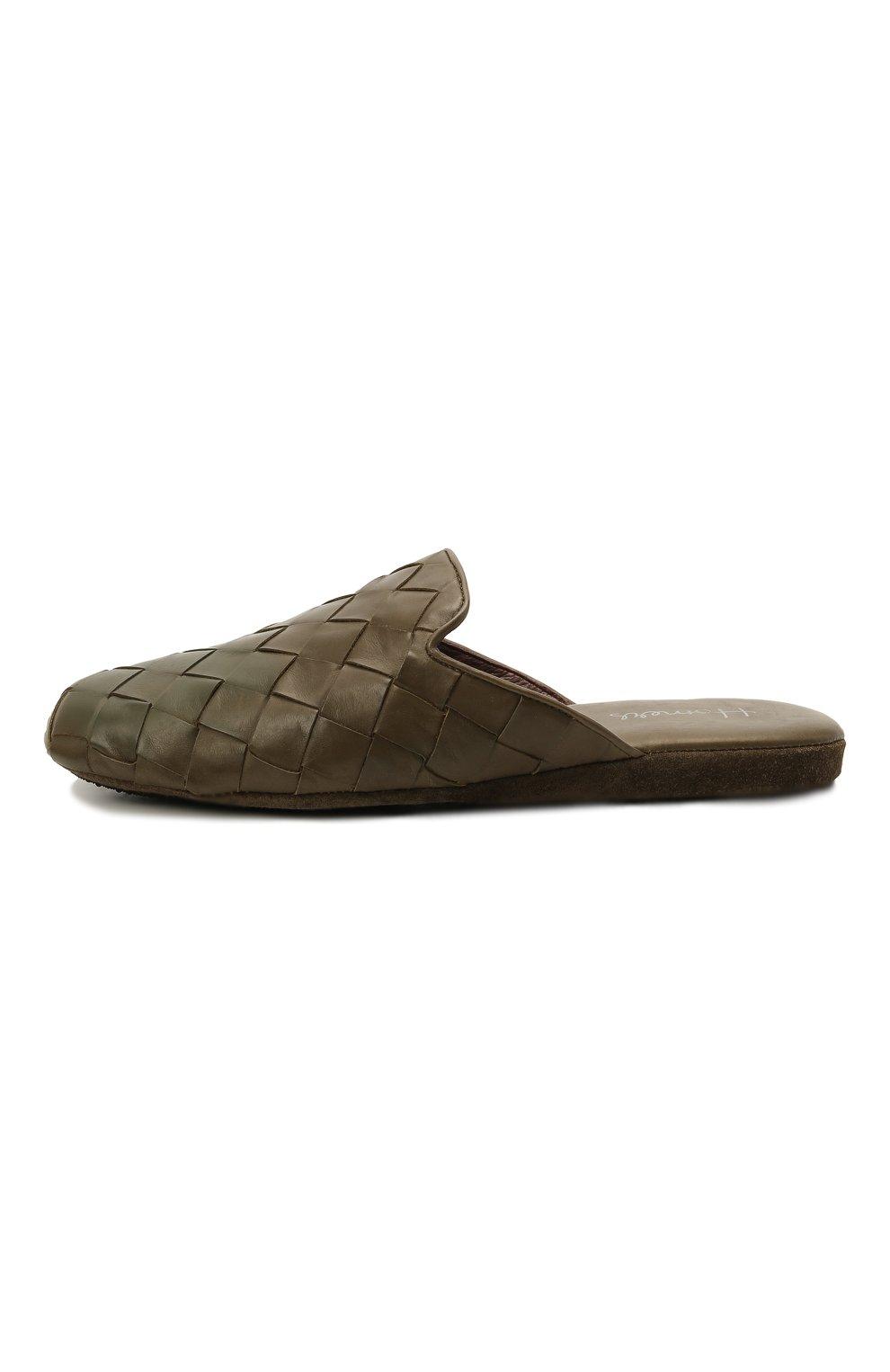 Мужского кожаные домашние туфли HOMERS AT HOME хаки цвета, арт. 20428/P0NCH0   Фото 4 (Материал внутренний: Натуральная кожа; Мужское Кросс-КТ: тапочки-обувь)