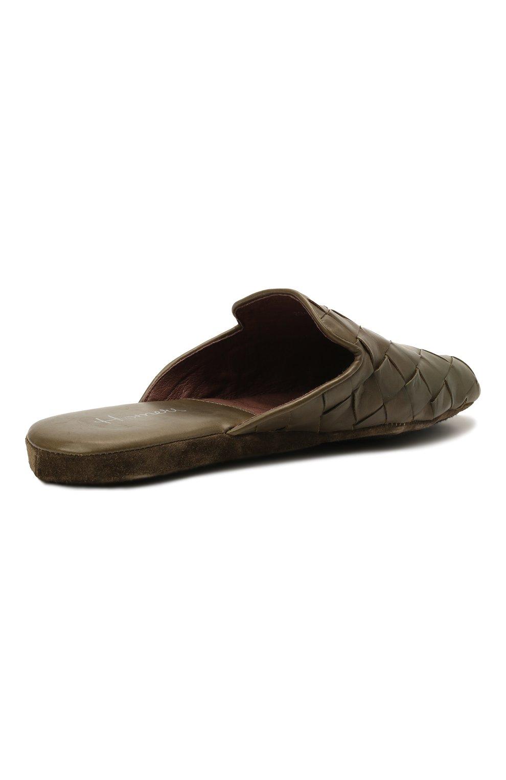 Мужского кожаные домашние туфли HOMERS AT HOME хаки цвета, арт. 20428/P0NCH0   Фото 5 (Материал внутренний: Натуральная кожа; Мужское Кросс-КТ: тапочки-обувь)