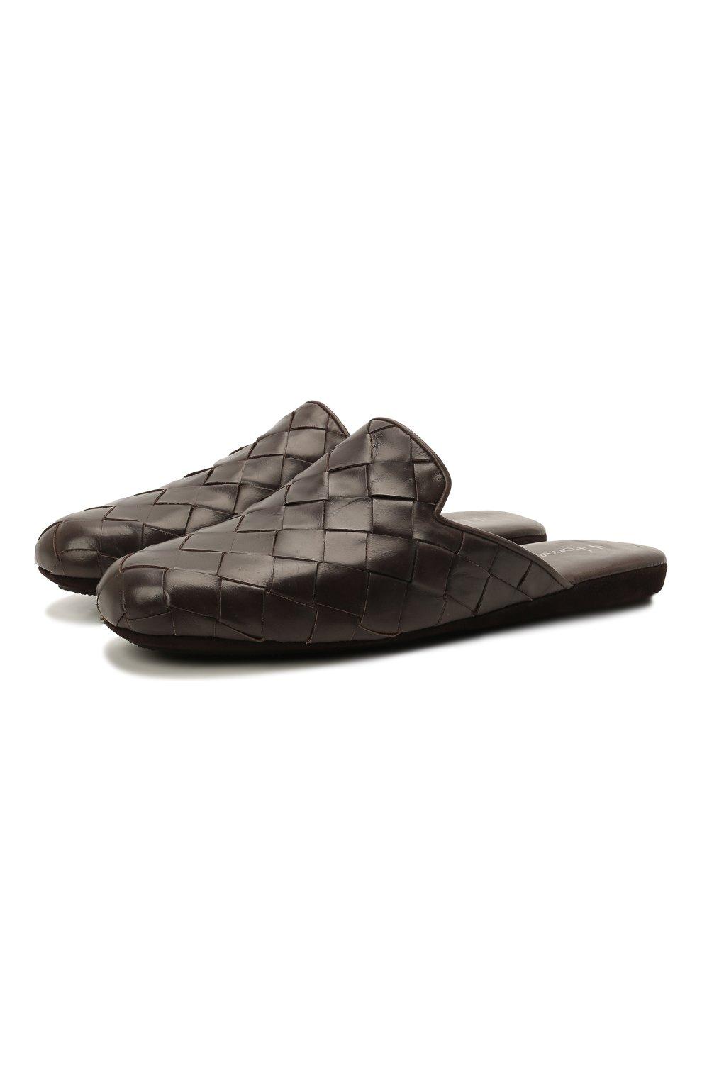 Мужского кожаные домашние туфли HOMERS AT HOME коричневого цвета, арт. 20428/P0NCH0   Фото 1 (Материал внутренний: Натуральная кожа; Мужское Кросс-КТ: тапочки-обувь)