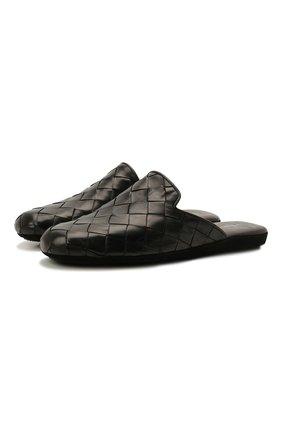 Мужского кожаные домашние туфли HOMERS AT HOME черного цвета, арт. 20428/P0NCH0 | Фото 1