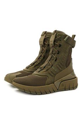 Мужские комбинированные кроссовки b-army BALMAIN хаки цвета, арт. WM1VG231/LSLM | Фото 1