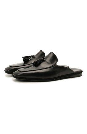 Мужского кожаные домашние туфли FARFALLA черного цвета, арт. D5XN | Фото 1 (Материал внутренний: Натуральная кожа; Мужское Кросс-КТ: тапочки-обувь)