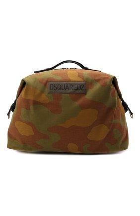 Мужская текстильная дорожная сумка DSQUARED2 хаки цвета, арт. DFM0029 168S0074   Фото 1