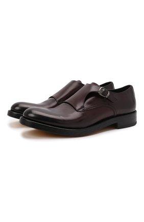 Мужские кожаные монки DOUCAL'S бордового цвета, арт. DU2921B0LLUF063NL01 | Фото 1 (Материал внутренний: Натуральная кожа; Стили: Классический)