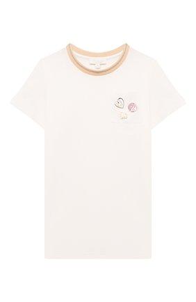 Детская хлопковая футболка CHLOÉ белого цвета, арт. C15D25 | Фото 1