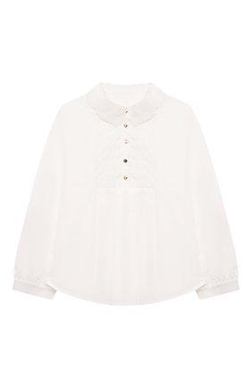 Детское хлопковая блузка CHLOÉ белого цвета, арт. C15D03 | Фото 1