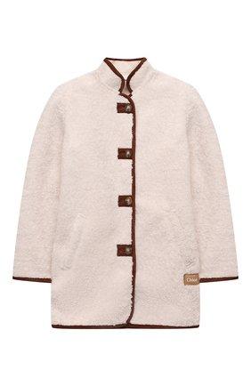 Детское укороченное пальто CHLOÉ бежевого цвета, арт. C16401 | Фото 1