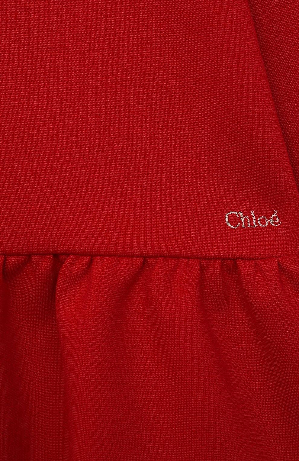 Детское платье CHLOÉ красного цвета, арт. C02300 | Фото 3 (Рукава: Короткие; Случай: Повседневный; Материал внешний: Синтетический материал, Хлопок; Девочки Кросс-КТ: Платье-одежда; Ростовка одежда: 12 мес | 80 см, 18 мес | 86 см, 2 года | 92 см, 3 года | 98 см, 9 мес | 74 см)