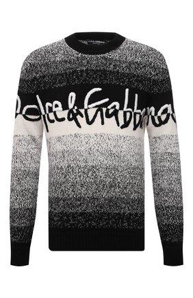Мужской свитер из шерсти и вискозы DOLCE & GABBANA серого цвета, арт. GX525Z/JCMA9 | Фото 1 (Материал внешний: Вискоза, Шерсть; Рукава: Длинные; Длина (для топов): Стандартные; Мужское Кросс-КТ: Свитер-одежда; Принт: С принтом; Стили: Кэжуэл)