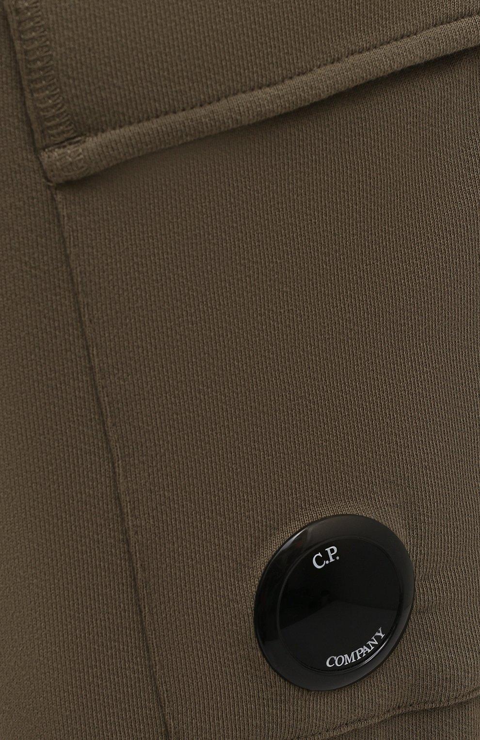 Мужские хлопковые джоггеры C.P. COMPANY хаки цвета, арт. 11CMSP057A-005086W | Фото 5 (Мужское Кросс-КТ: Брюки-трикотаж; Длина (брюки, джинсы): Стандартные; Материал внешний: Хлопок; Стили: Спорт-шик; Силуэт М (брюки): Джоггеры)