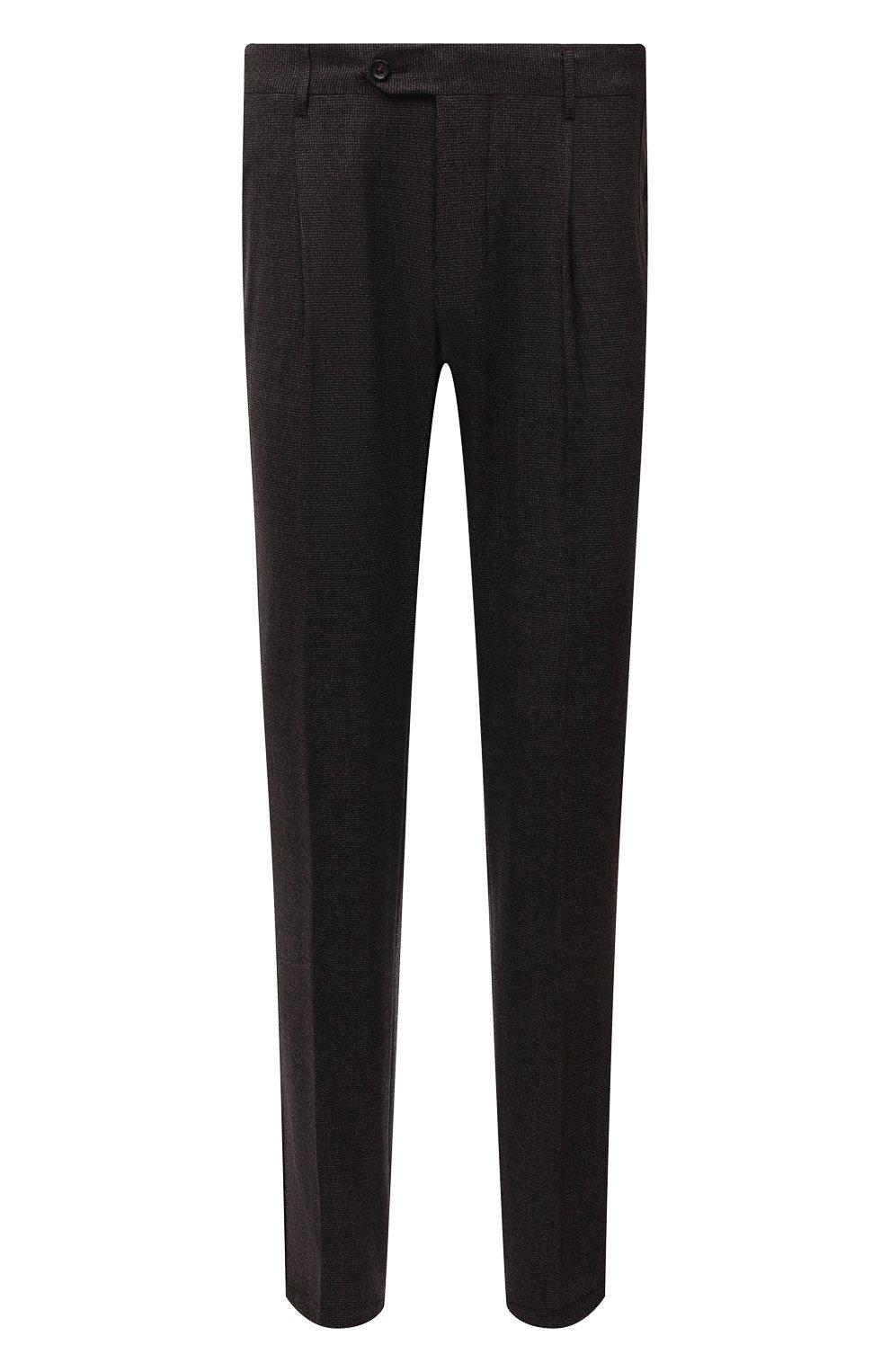 Мужские шерстяные брюки CORNELIANI коричневого цвета, арт. 884L08-1817520/00 | Фото 1 (Материал внешний: Шерсть; Длина (брюки, джинсы): Стандартные; Случай: Формальный; Стили: Кэжуэл)