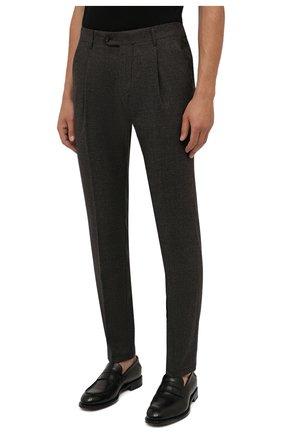 Мужские шерстяные брюки CORNELIANI коричневого цвета, арт. 884L08-1817520/00 | Фото 3 (Материал внешний: Шерсть; Длина (брюки, джинсы): Стандартные; Случай: Формальный; Стили: Кэжуэл)
