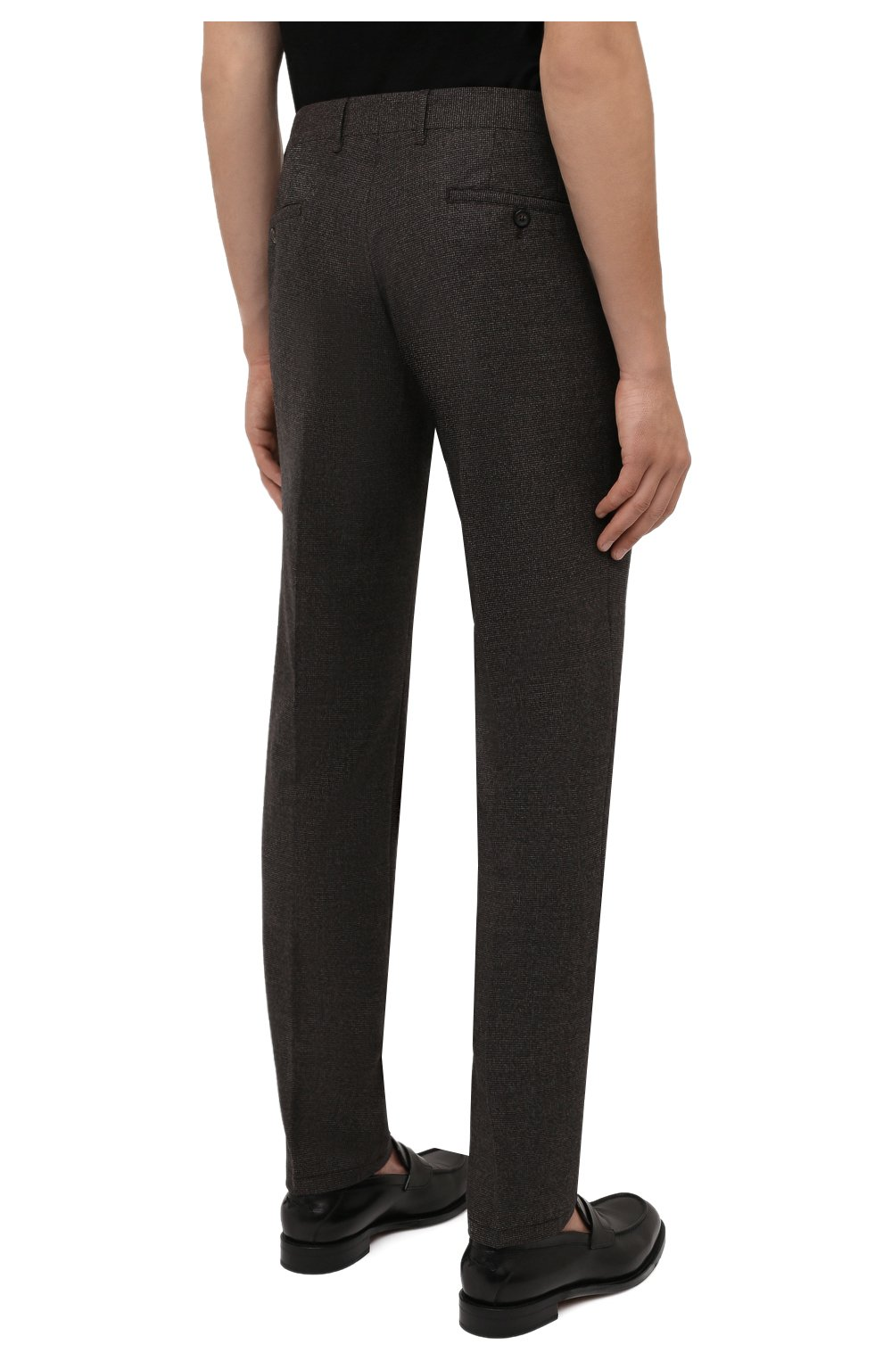 Мужские шерстяные брюки CORNELIANI коричневого цвета, арт. 884L08-1817520/00 | Фото 4 (Материал внешний: Шерсть; Длина (брюки, джинсы): Стандартные; Случай: Формальный; Стили: Кэжуэл)