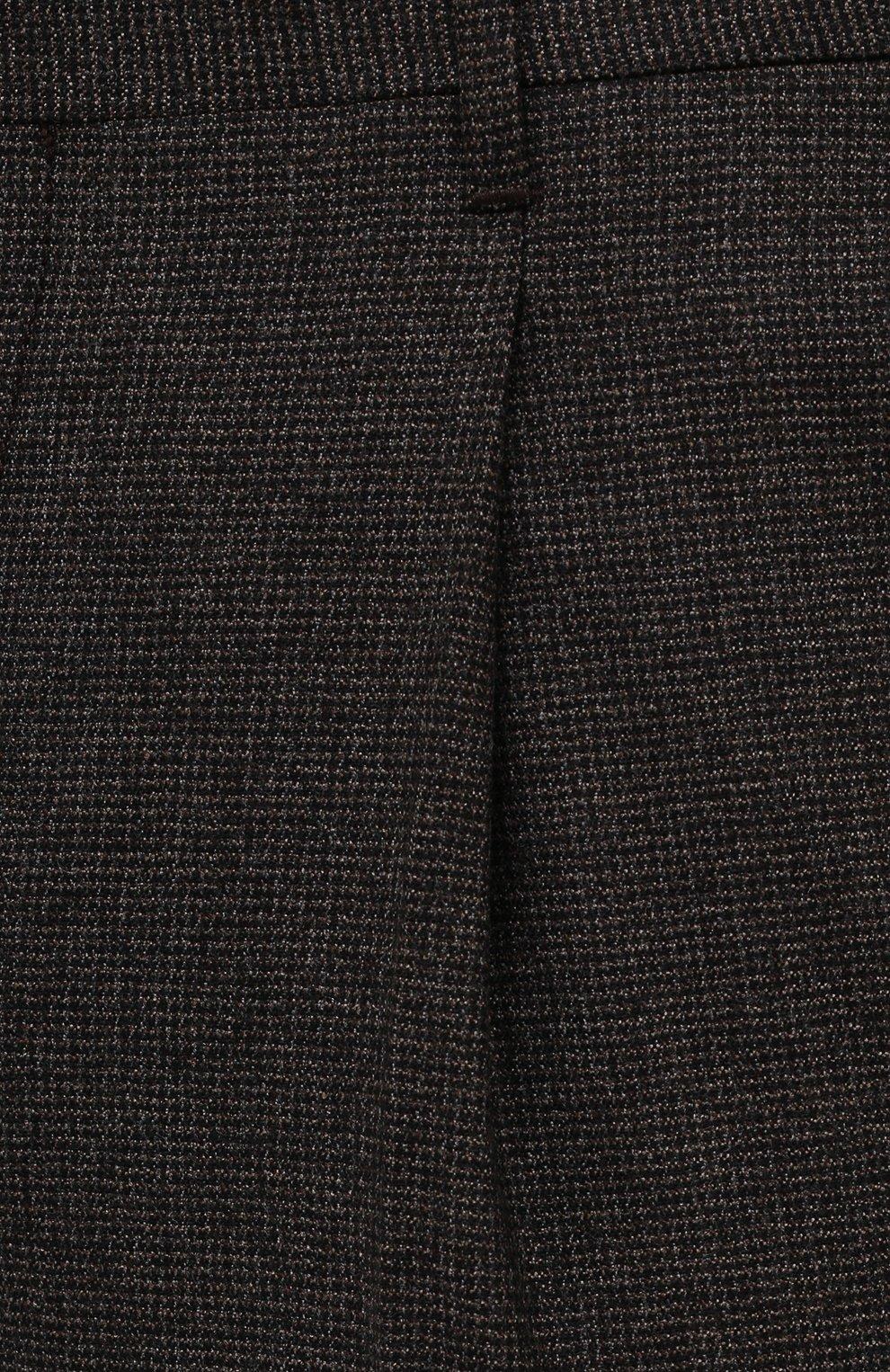 Мужские шерстяные брюки CORNELIANI коричневого цвета, арт. 884L08-1817520/00 | Фото 5 (Материал внешний: Шерсть; Длина (брюки, джинсы): Стандартные; Случай: Формальный; Стили: Кэжуэл)