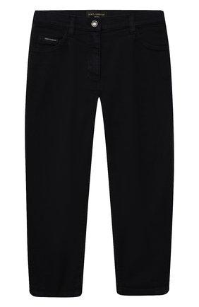 Детские джинсы DOLCE & GABBANA темно-синего цвета, арт. L52F30/LY049/2-6   Фото 1 (Материал внешний: Хлопок; Кросс-КТ: джинсы; Ростовка одежда: 2 года   92 см, 3 года   98 см, 4 года   104 см, 5 лет   110 см, 6 лет   116 см)