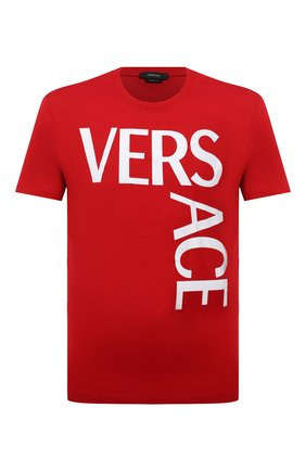 Мужская хлопковая футболка VERSACE красного цвета, арт. 1001288/1A00922   Фото 1
