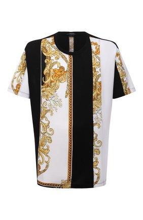 Мужская хлопковая футболка VERSACE черного цвета, арт. 1000850/1A00662 | Фото 1 (Материал внешний: Хлопок; Рукава: Короткие; Длина (для топов): Стандартные; Принт: С принтом; Стили: Кэжуэл)