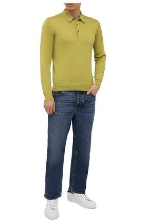 Мужское поло из шерсти и шелка GRAN SASSO салатового цвета, арт. 57132/13190 | Фото 2