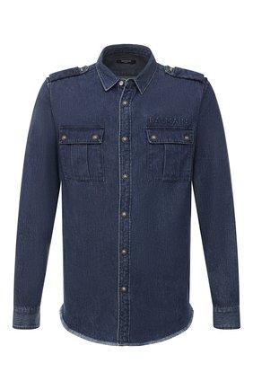 Мужская джинсовая рубашка BALMAIN синего цвета, арт. WH1HC030/145D | Фото 1