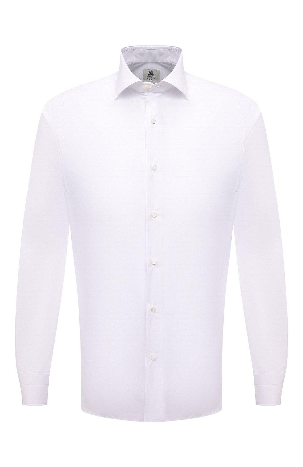 Мужская хлопковая сорочка LUIGI BORRELLI белого цвета, арт. PS10012/LUCIAN0/ST/EV/PC   Фото 1 (Манжеты: На пуговицах; Рукава: Длинные; Воротник: Акула; Длина (для топов): Стандартные; Рубашки М: Slim Fit; Материал внешний: Хлопок; Стили: Классический; Случай: Формальный; Принт: Однотонные)