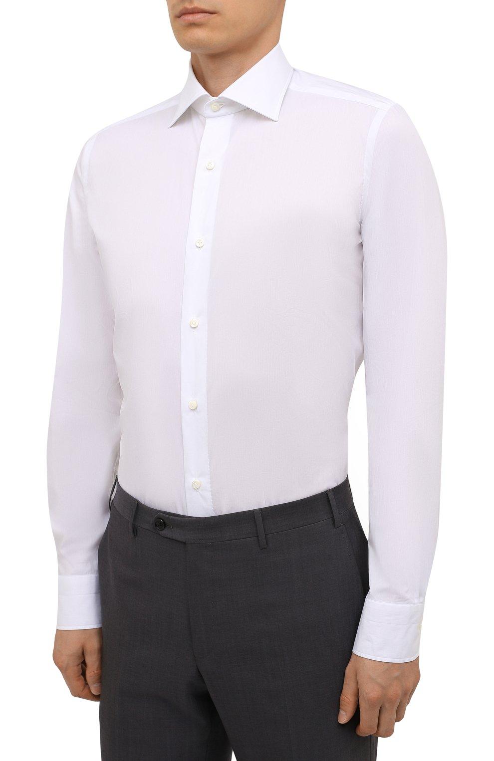 Мужская хлопковая сорочка LUIGI BORRELLI белого цвета, арт. PS10012/LUCIAN0/ST/EV/PC   Фото 3 (Манжеты: На пуговицах; Рукава: Длинные; Воротник: Акула; Длина (для топов): Стандартные; Рубашки М: Slim Fit; Материал внешний: Хлопок; Стили: Классический; Случай: Формальный; Принт: Однотонные)