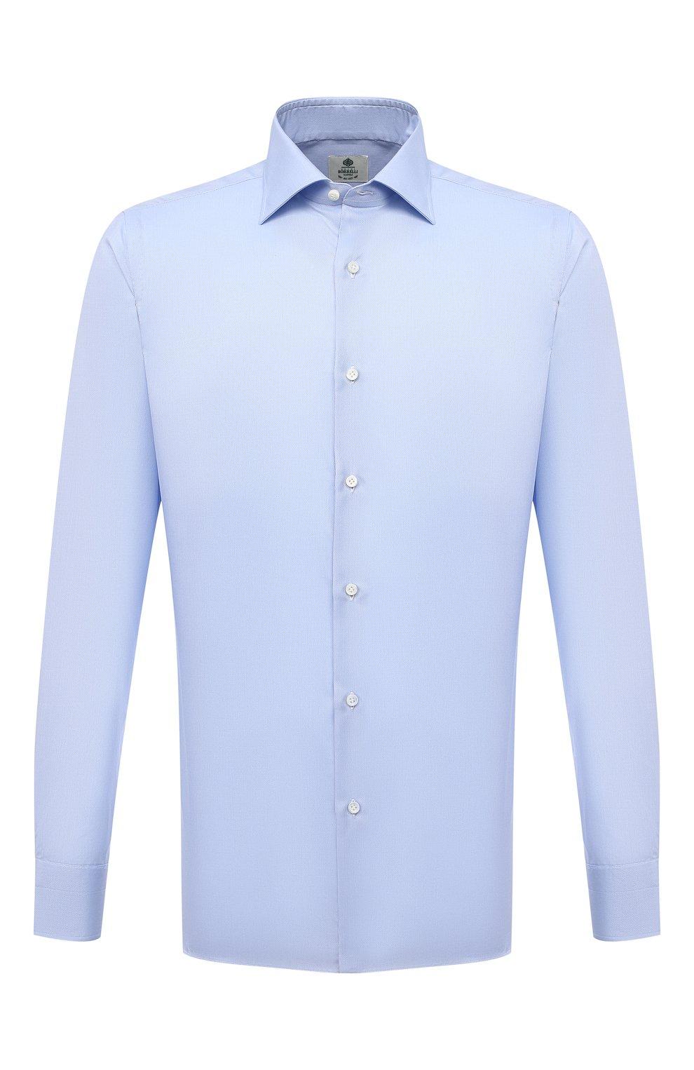 Мужская хлопковая сорочка LUIGI BORRELLI голубого цвета, арт. PS30060/LUCIAN0/ST/EV/PC | Фото 1 (Манжеты: На пуговицах; Рукава: Длинные; Воротник: Акула; Длина (для топов): Стандартные; Рубашки М: Slim Fit; Материал внешний: Хлопок; Стили: Классический; Случай: Формальный; Принт: Однотонные)