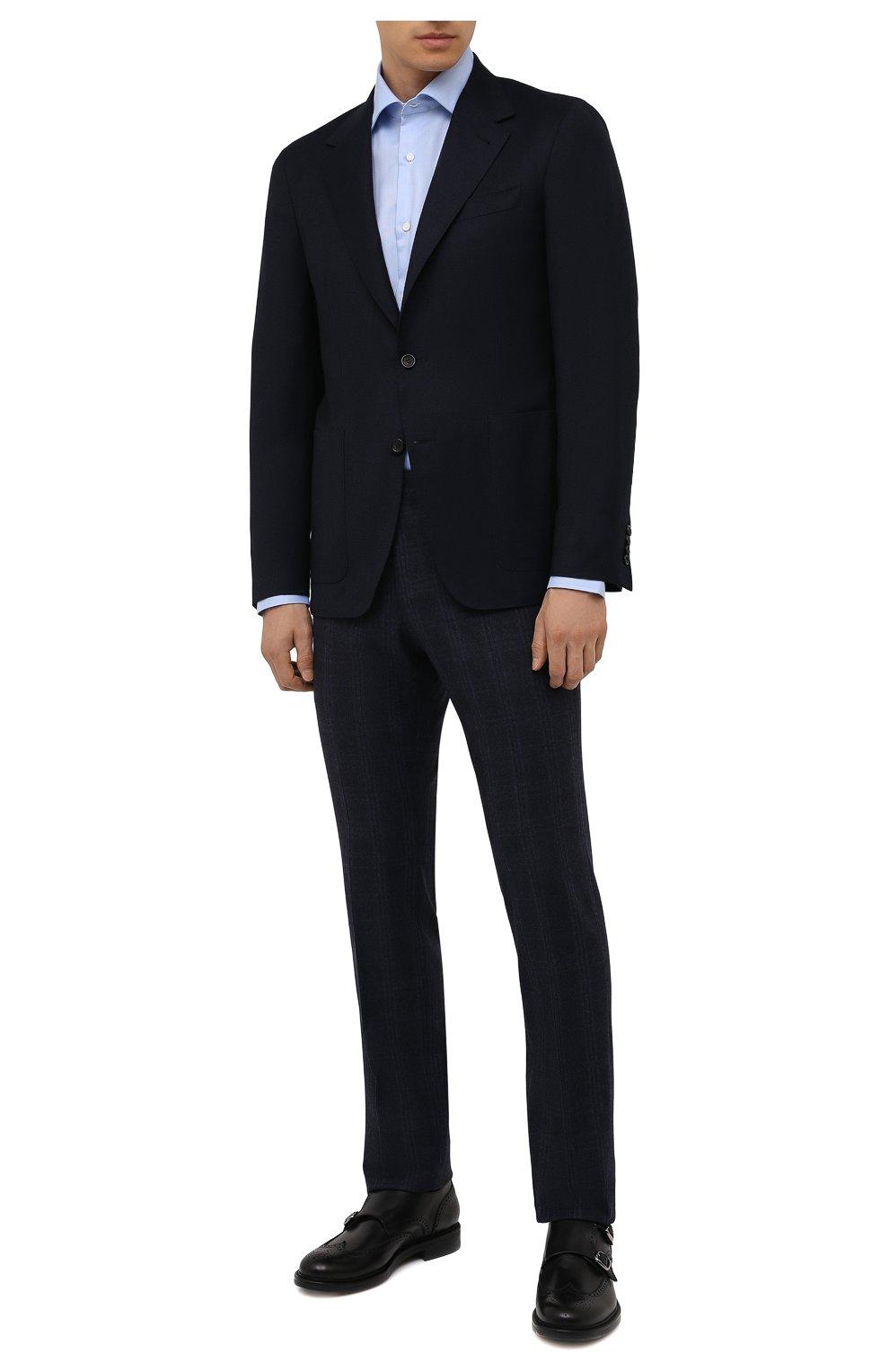Мужская хлопковая сорочка LUIGI BORRELLI голубого цвета, арт. PS30060/LUCIAN0/ST/EV/PC | Фото 2 (Манжеты: На пуговицах; Рукава: Длинные; Воротник: Акула; Длина (для топов): Стандартные; Рубашки М: Slim Fit; Материал внешний: Хлопок; Стили: Классический; Случай: Формальный; Принт: Однотонные)
