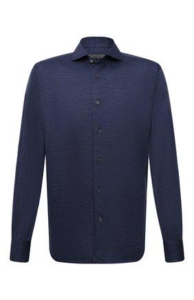 Мужская шерстяная рубашка CORNELIANI синего цвета, арт. 88P112-1811203/00 | Фото 1