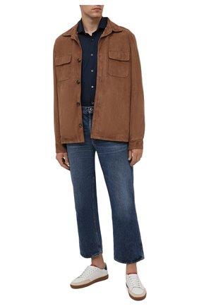 Мужская хлопковая рубашка CORNELIANI темно-синего цвета, арт. 88P112-1811213/00 | Фото 2