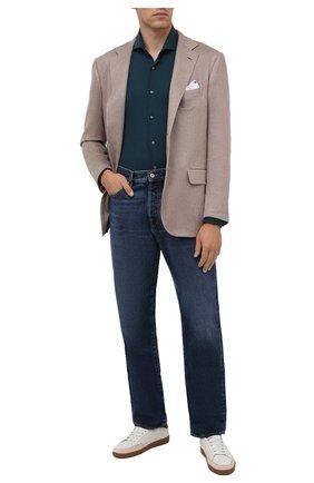 Мужская хлопковая рубашка LORO PIANA бирюзового цвета, арт. FAL6123 | Фото 2 (Материал внешний: Хлопок; Случай: Повседневный; Рукава: Длинные; Принт: Однотонные; Воротник: Акула; Манжеты: На пуговицах; Стили: Кэжуэл; Длина (для топов): Стандартные)