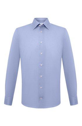 Мужская хлопковая сорочка ETON голубого цвета, арт. 1000 03087 | Фото 1 (Длина (для топов): Стандартные; Материал внешний: Хлопок; Рукава: Длинные; Случай: Формальный; Принт: Однотонные; Воротник: Кент; Рубашки М: Slim Fit; Манжеты: На пуговицах; Стили: Классический)