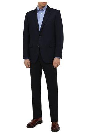 Мужская хлопковая сорочка ETON голубого цвета, арт. 1000 03087 | Фото 2 (Длина (для топов): Стандартные; Материал внешний: Хлопок; Рукава: Длинные; Случай: Формальный; Принт: Однотонные; Воротник: Кент; Рубашки М: Slim Fit; Манжеты: На пуговицах; Стили: Классический)