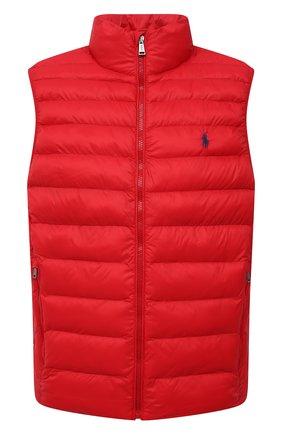 Мужской утепленный жилет POLO RALPH LAUREN красного цвета, арт. 710810898 | Фото 1 (Материал внешний: Синтетический материал; Материал подклада: Синтетический материал; Кросс-КТ: Куртка; Стили: Спорт-шик; Длина (верхняя одежда): Короткие)