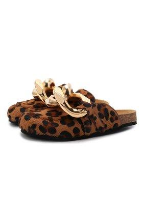 Женские кожаные сабо chain JW ANDERSON леопардового цвета, арт. AN35004A/14035 | Фото 1 (Материал внутренний: Натуральная кожа; Подошва: Плоская; Каблук высота: Без каблука; Каблук тип: Устойчивый)