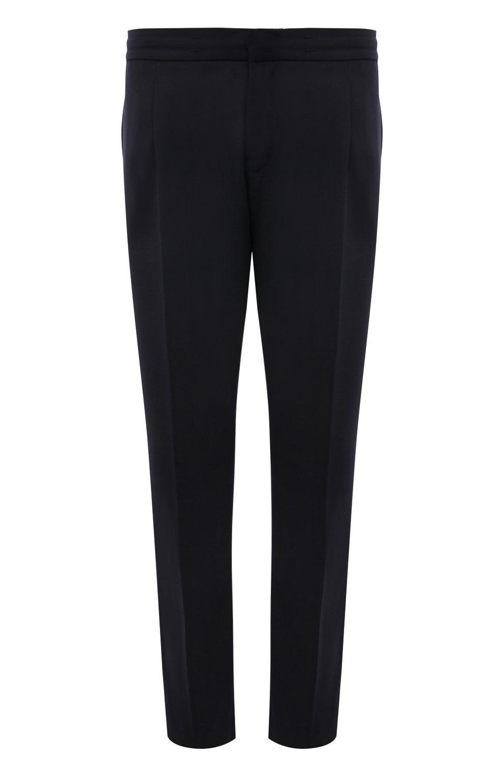 Мужские брюки BOGNER темно-синего цвета, арт. 18483283   Фото 1 (Материал внешний: Шерсть, Синтетический материал; Длина (брюки, джинсы): Стандартные; Случай: Повседневный; Материал подклада: Синтетический материал; Стили: Кэжуэл)