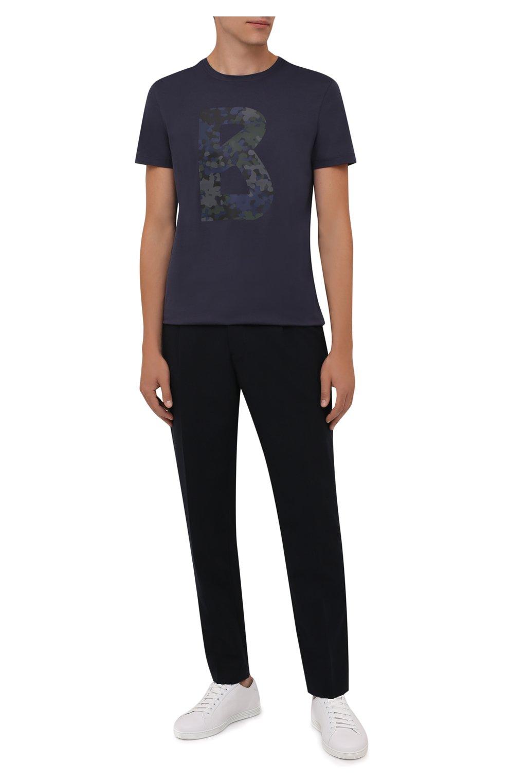 Мужские брюки BOGNER темно-синего цвета, арт. 18483283   Фото 2 (Материал внешний: Шерсть, Синтетический материал; Длина (брюки, джинсы): Стандартные; Случай: Повседневный; Материал подклада: Синтетический материал; Стили: Кэжуэл)